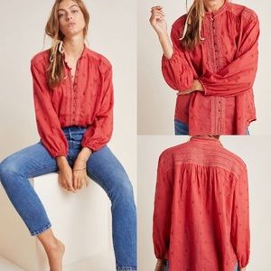 Anthropologie Auguste Embroidered Blouse